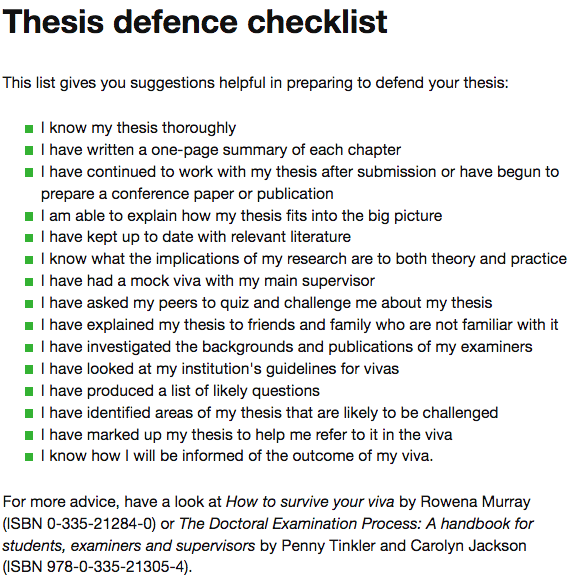 Vitae Thesis defence Checklist